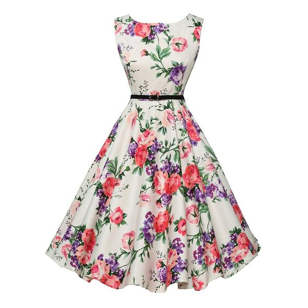 Floral Sleeveless Midi X-line Dress (1955382359) 4