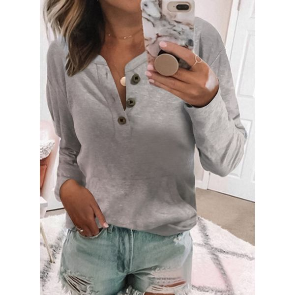 Others Solid Loose Regular Buttons Sweaters (1675351612) 5