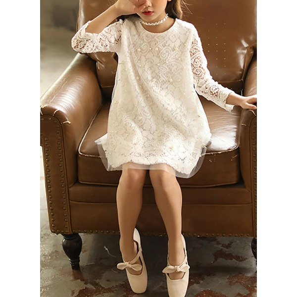 Girls' Solid Daily Long Sleeve Dresses (30135305268) 9