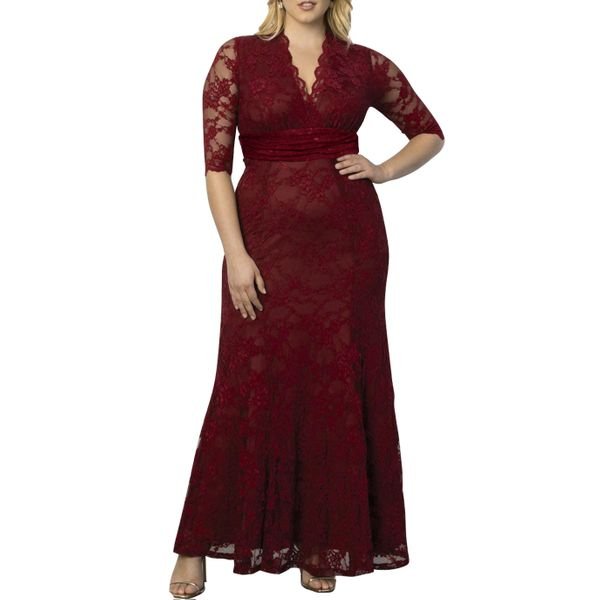 Plus Size Solid Lace Half Sleeve Maxi X-line Dress (1955377405)