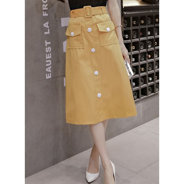 Solid Mid-Calf Casual Buttons Pockets Skirts (1725381540)
