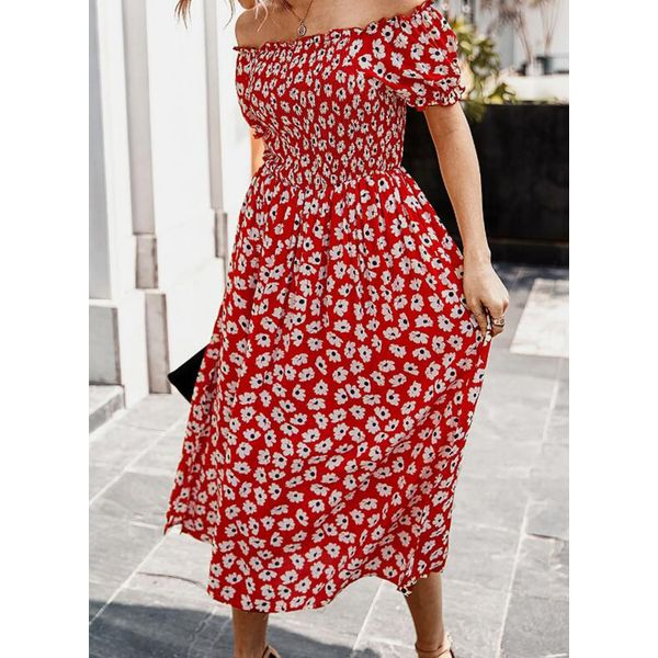 Casual Floral Peasant Off the Shoulder X-line Dress (1955592583)