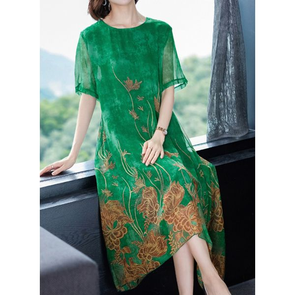 Floral Wrap Tunic Round Neckline Shift Dress (1955423408, Green