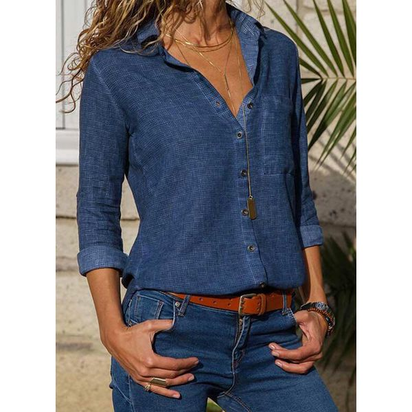 Solid Casual V-Neckline 3/4 Sleeves Blouses (1645401485)