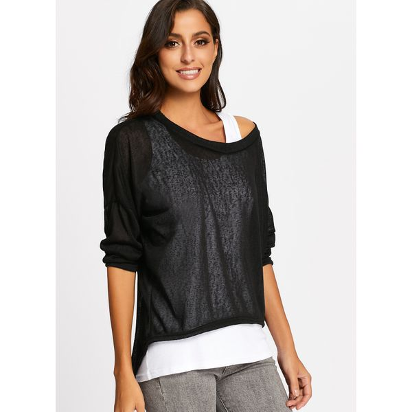 Round Neckline Solid Casual Loose Long None Sweaters (01675374998)
