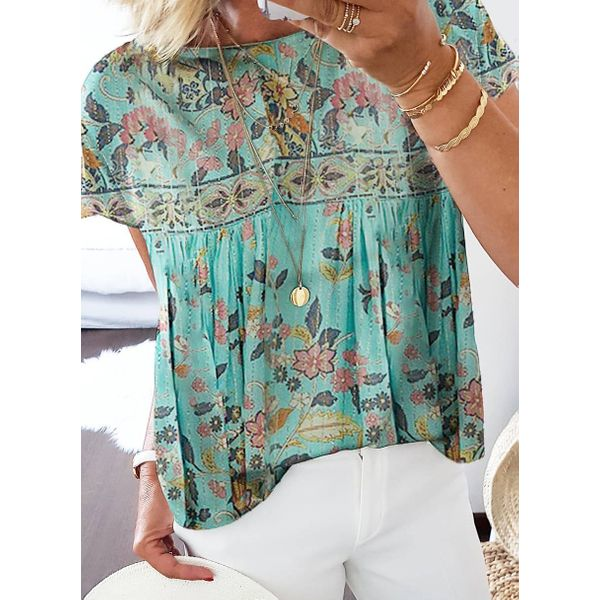 Floral Casual Round Neckline Short Sleeve Blouses (1645590846)