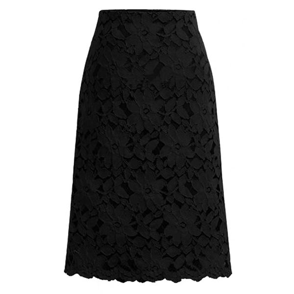 Solid Mid-Calf Casual Lace Skirts (1725596615)