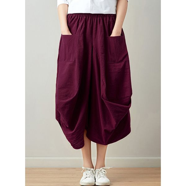 Solid Mid-Calf Casual Pockets Skirts (1725373436)