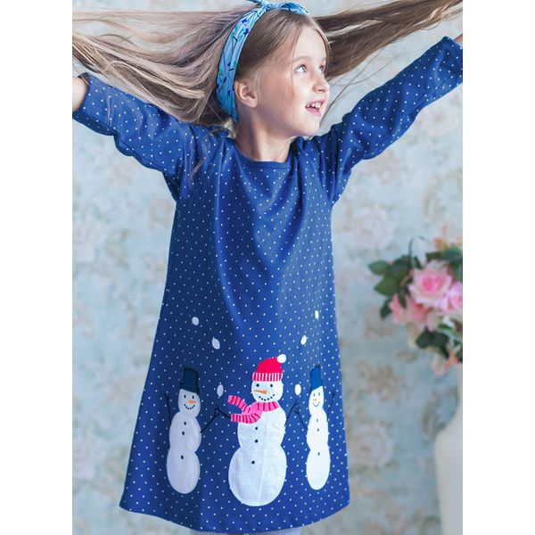 Girls' Cute Cartoon Christmas Long Sleeve Dresses (30135337308) 6