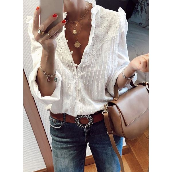 Solid Sexy V-Neckline Long Sleeve Blouses (1645491401)
