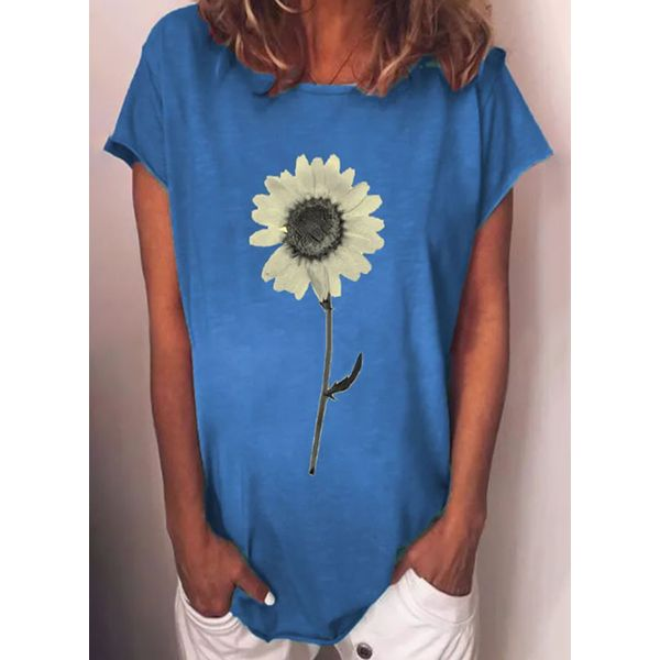 Floral Round Neck Short Sleeve Casual T-shirts (1685594299)