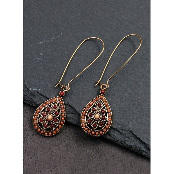 Casual Floral No Stone Dangle Earrings (1855584593)