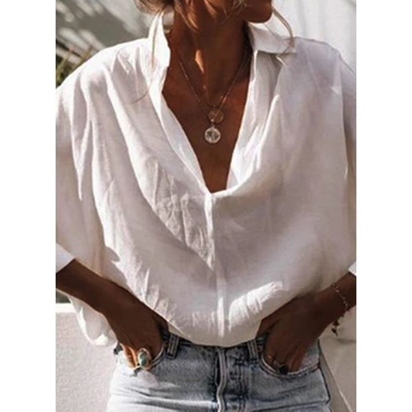 Solid Casual Collar Long Sleeve Blouses (1645586856)
