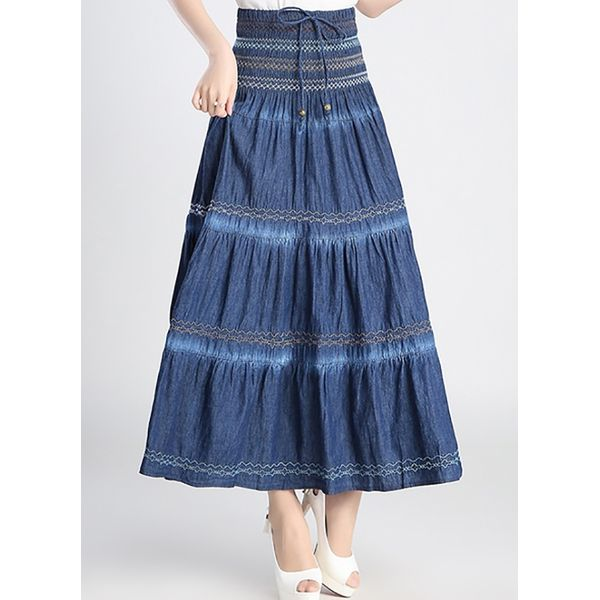 Color Block Mid-Calf Vintage Skirts (1725377810) 5