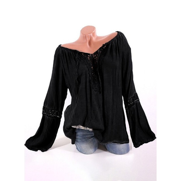 Solid Casual V-Neckline Long Sleeve Blouses (1645282355) 10