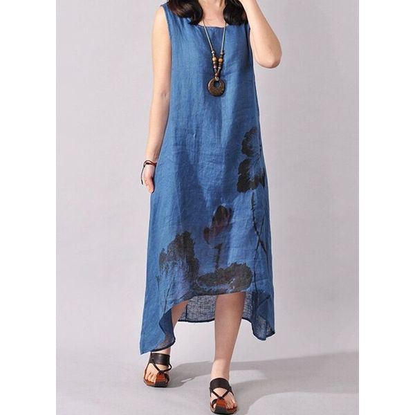 Casual Floral Tunic Round Neckline Shift Dress (1955563874)