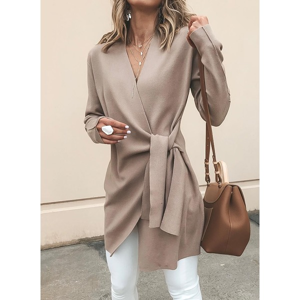 Long Sleeve V-neck Sashes Wrap Coats (1715322590) 5