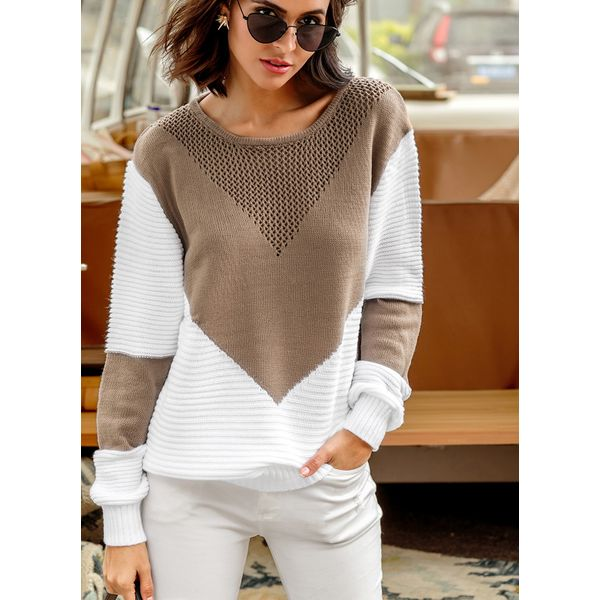 Round Neckline Color Block Loose Shift Sweaters (01675344861) 5