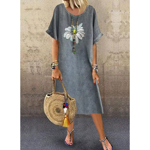 Casual Floral Tunic Round Neckline A-line Dress (1955595114)
