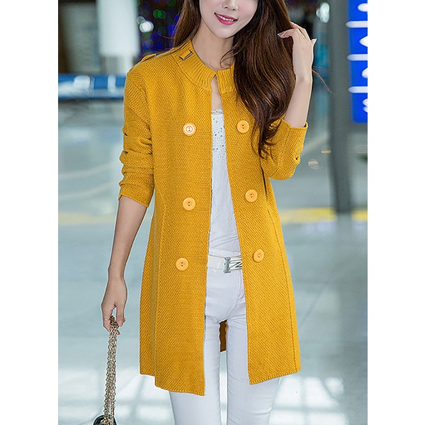 Long Sleeve Round Neck Buttons Coats (1715250702) 9