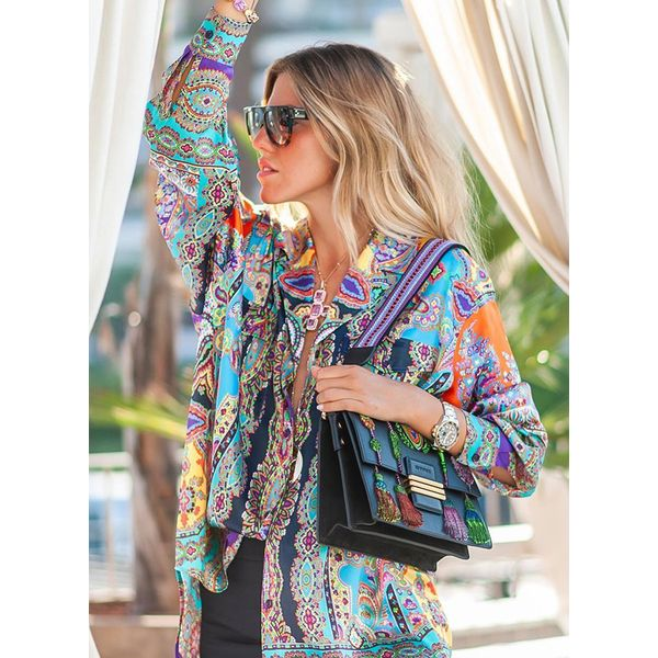 Floral Sexy V-Neckline Long Sleeve Blouses (1645371740) 5