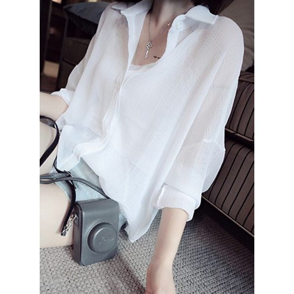 Solid Casual Collar Long Sleeve Blouses (1645401788, Gray;green;white