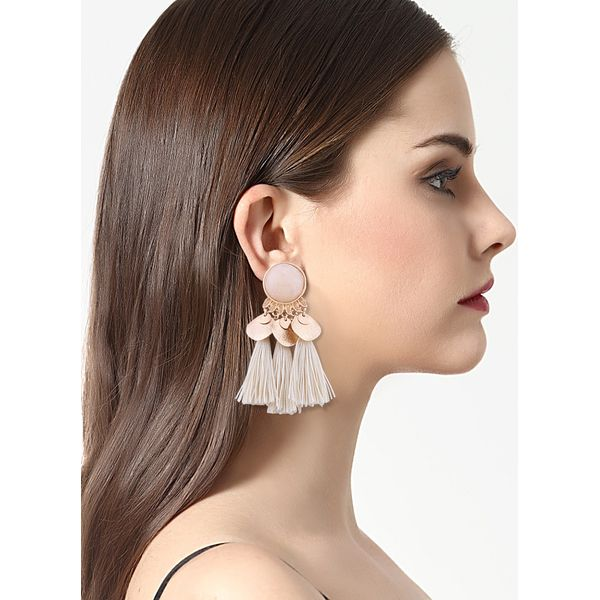 Tassel No Stone Dangle Earrings (1855400024, Off-white;burgundy;dark green
