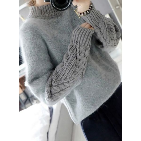 High Neckline Solid Loose Long Shift Sweaters (1675376839) 2