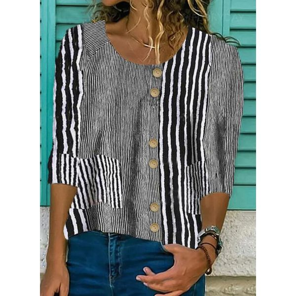 Stripe Casual Round Neckline 3/4 Sleeves Blouses (1645593139)