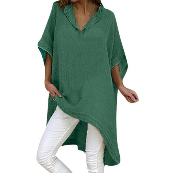 Plus Size Solid Casual V-Neckline 3/4 Sleeves Blouses (1645424145)