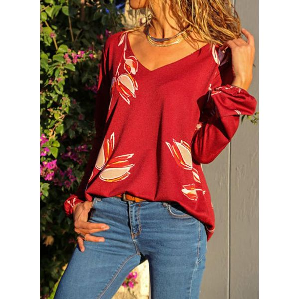 Floral Casual V-Neckline Long Sleeve Blouses (1645382457, Red