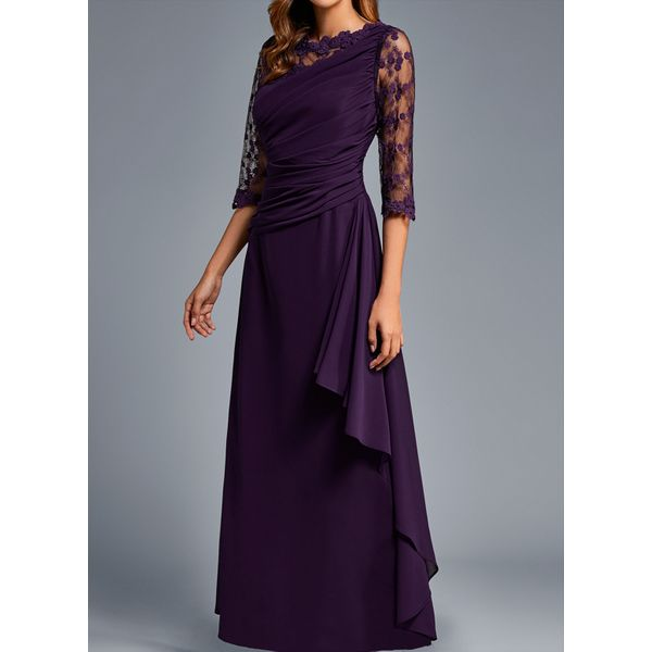Casual Solid Lace Round Neckline X-line Dress (1955501708)