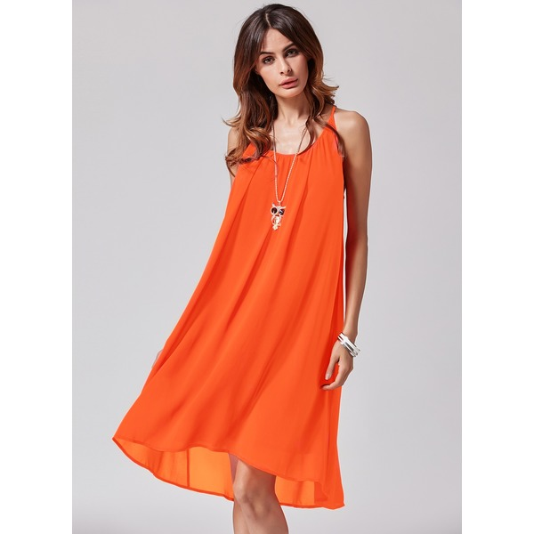 Solid Sleeveless Above Knee A-line Dress (1955116855) 2