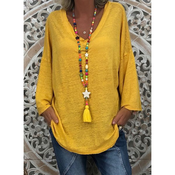 Plus Size Solid Casual V-Neckline Long Sleeve Blouses (1645405531, Yellow