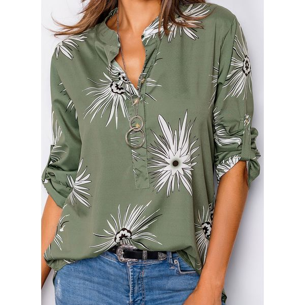 Floral Casual Round Neckline Long Sleeve Blouses (01645369075)
