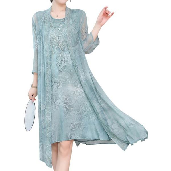 Casual Floral Tunic Round Neckline Shift Dress (1955542485)