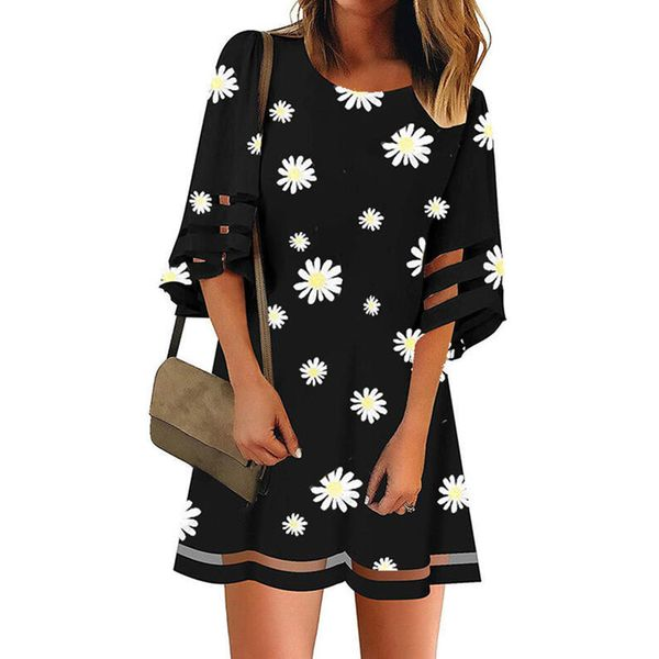 Casual Floral Tunic Round Neckline Shift Dress (1955587236)