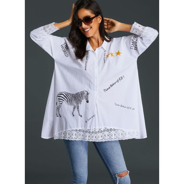 Animal Casual Collar Long Sleeve Blouses (01645383143) 1