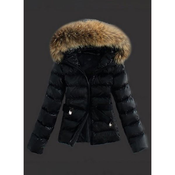 Long Sleeve Hooded Sashes Zipper Unremovable Fur Collar Padded Coats (1715334093) 9