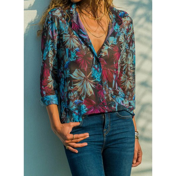 Floral Casual Collar Long Sleeve Blouses (1645368663) 11