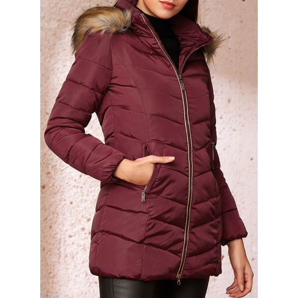 Long Sleeve Hooded Removable Fur Collar Padded Coats (1715349553)