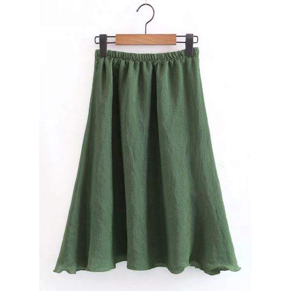 Solid Mid-Calf Cute Skirts (1725377585) 5