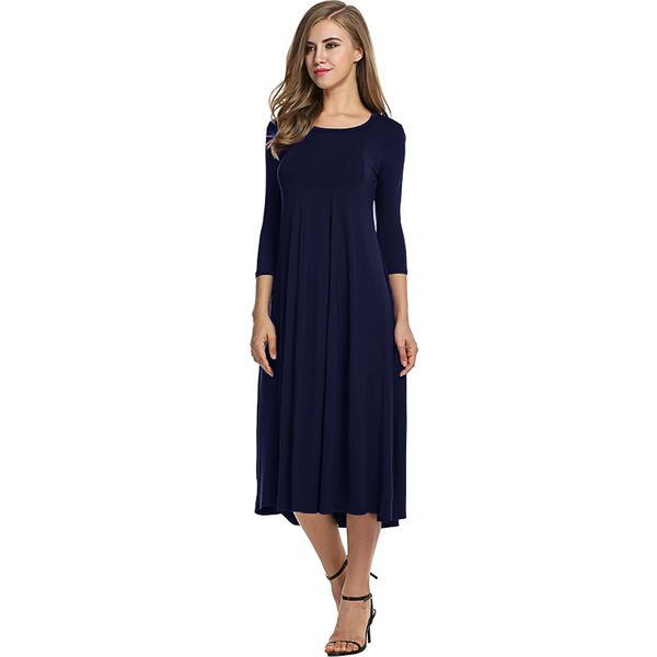 Solid 3/4 Sleeves Midi A-line Dress (1955358504) 4