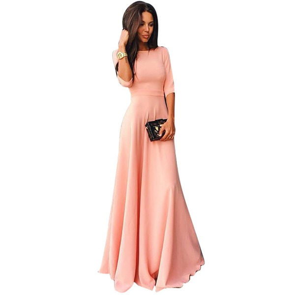 Chic Solid Off the Shoulder Maxi X-line Dress (1955106194)