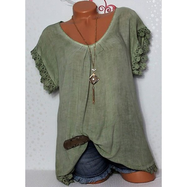 Solid Casual Round Neckline Short Sleeve Blouses (1645281266, Blue;burgundy;pink;rose;dark gray;military green