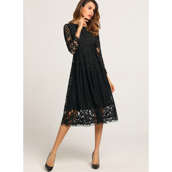 Solid Hollow Out Long Sleeve Midi A-line Dress (01955220519) 1