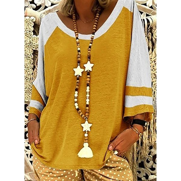 Color Block Casual Round Neckline 3/4 Sleeves Blouses (1645565912)