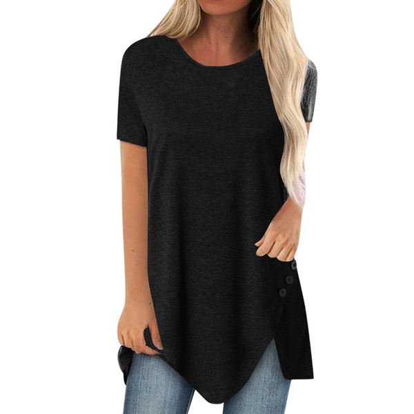Solid Casual Round Neckline Short Sleeve Blouses (1645598817)