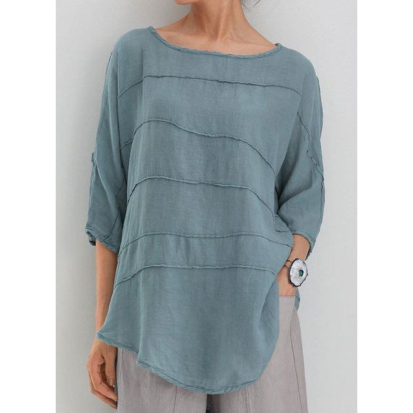 Solid Casual Round Neckline 3/4 Sleeves Blouses (1645546712)