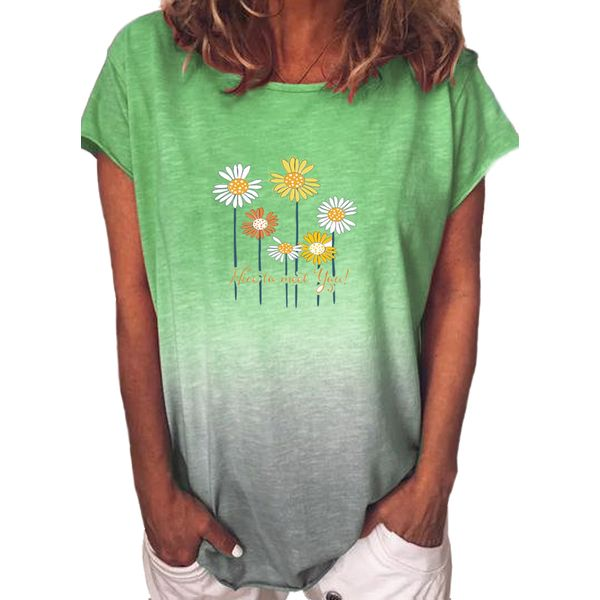 Floral Round Neck Short Sleeve Casual T-shirts (1685593615)
